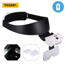 TKDMR USB Rechargeable Headband Multi Functional Glasses Magnifier 2LED Illuminated Magnifying Glass with 5 Replaceable Lenses