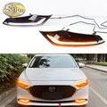 2PCS Dynamische Gelb Signal Funktion 12V ABS Wasserdichte Auto DRL Lampe LED Tagfahrlicht Für Mazda 3 Axela 2019 2020