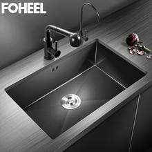 Strainer Kitchen-Sink Undermount Farmhouse Single-Bowl Handmade Stainless-Steel FOHEEL
