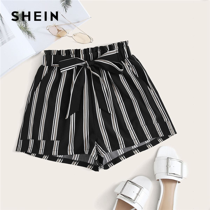 SHEIN Black Vertical Striped Pocket Front Belted Shorts Women 2020 Summer Cute Drawstring Waist Wide Leg Loose Casual Shorts