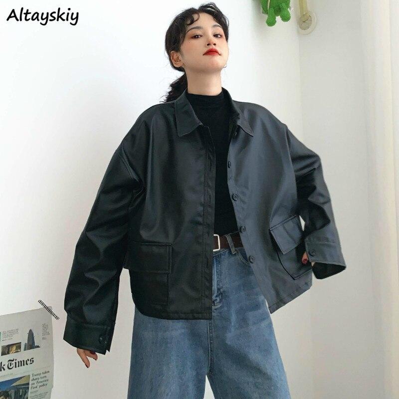 Jackets Women PU Loose Button Pockets Windbreaker Turn-down Collar Korean Style BF Ulzzang 2020 Streetwear Womens Leisure Trendy