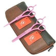 Meisha 5.5 inch Professional Hairdressing Scissors Barbers Shop Pink Hair Cutting Shears Thinning Scissor Styling Tool HA0061