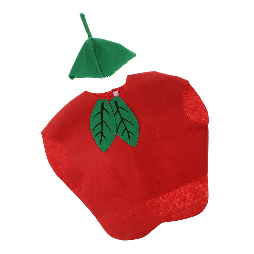 Children's Day Gift Xmas Kids One Piece Apple Costume Cosplay Fruit Outfit Party Fancy Dress Red Suits With Hat Apple Style