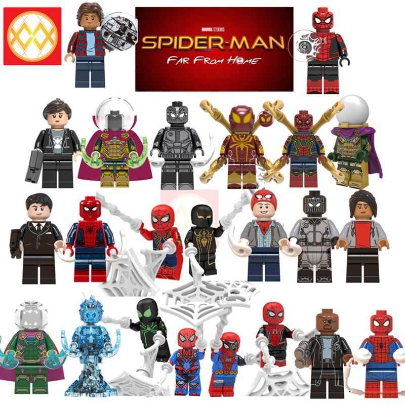 シングル販売スパイダーマンから遠ホームピーター公園ミステリオニック毛皮のようなスパイダーマンハッピーホーガン MJ ビルディングブロックアベンジャーズおもちゃギフト