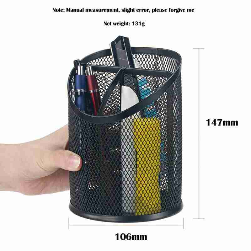 Round Cosmetic Metal Pencil Case Pen Holder Stand Cylindrical Large-capacity Container Supplies Stationery Organizer Desk C6X6