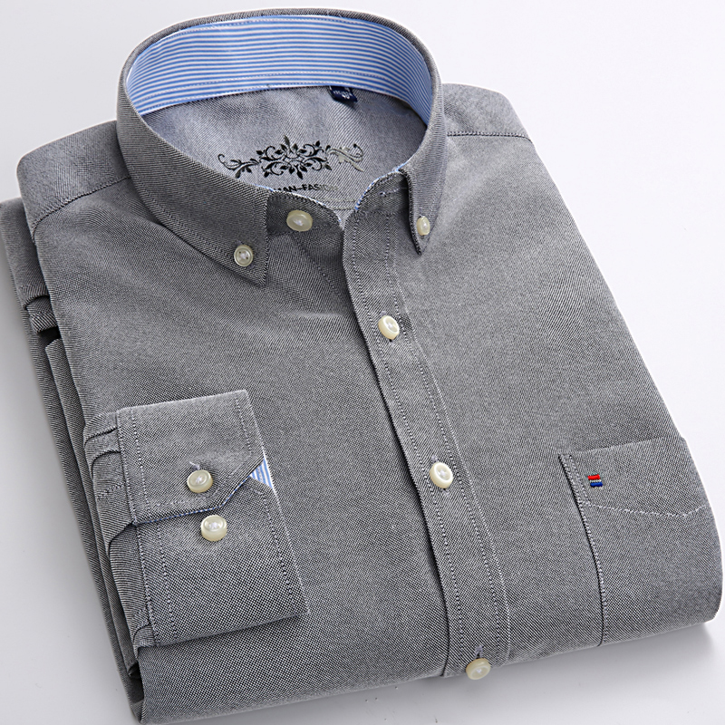 Men's Fashion Long Sleeve Solid Oxford Shirt Single Patch Pocket Simple Design Casual Standard-fit Button-down Collar Shirts