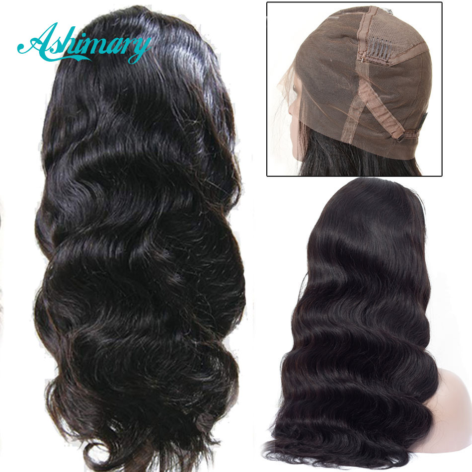 Ashimary Wigs Remy Human-Hair Full-Lace Body-Wave Pre-Plucked 150%Density Peruvian