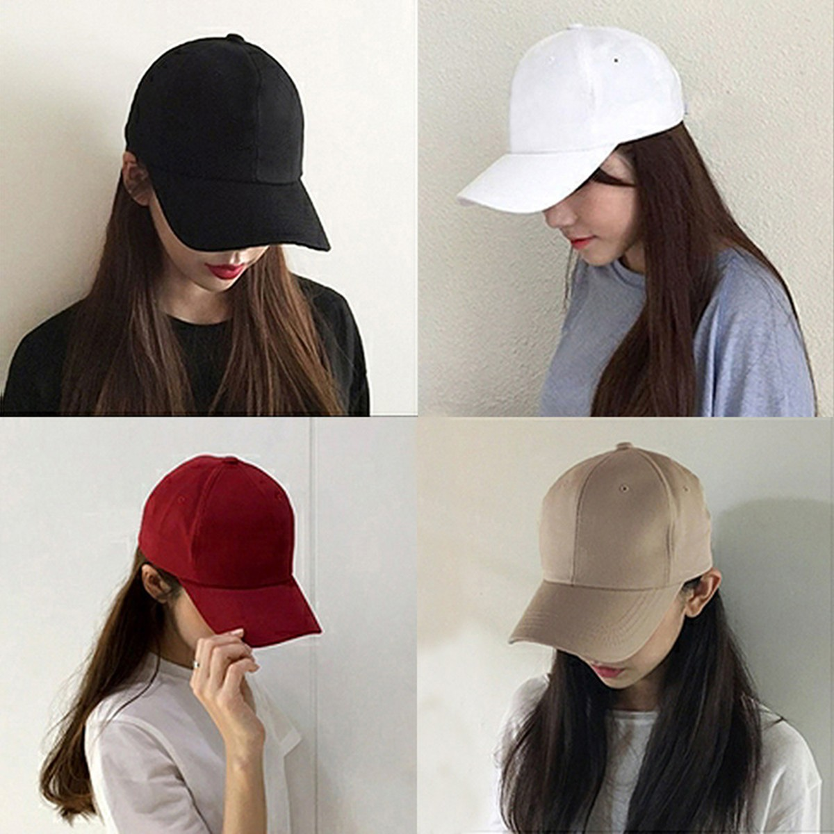 2020 The New Mens Womens Hats Kpop Fashion Casual Baseball Cap Solid Color Black Peaked Cap Versatile Student Hat Sunshade Cap