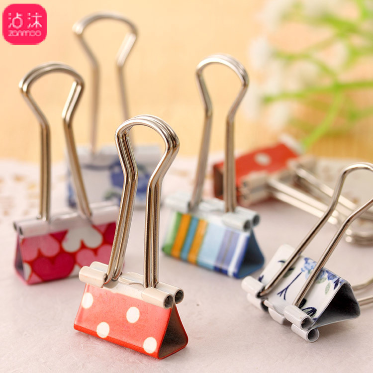 0294 Cute Hipster Color Binder Clip Printed Binder Clip Metal Ticket Clips 24 PCs