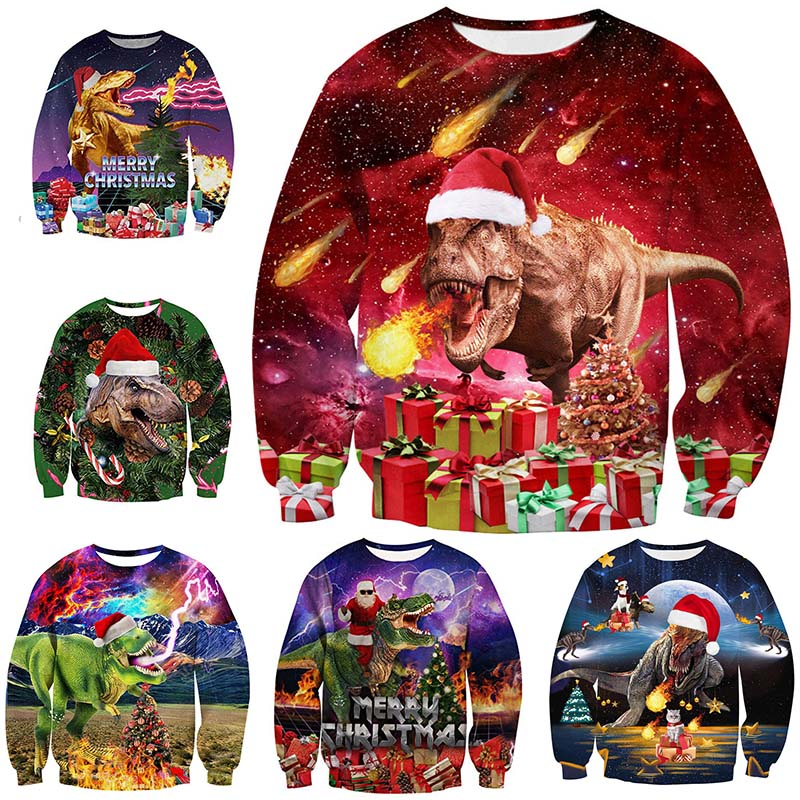 Unisex  Christmas Sweater Ugly Christmas Sweaters Men/female Pullover Winter Autumn Tops Print  Funny  Dinosaur Tops Clothing