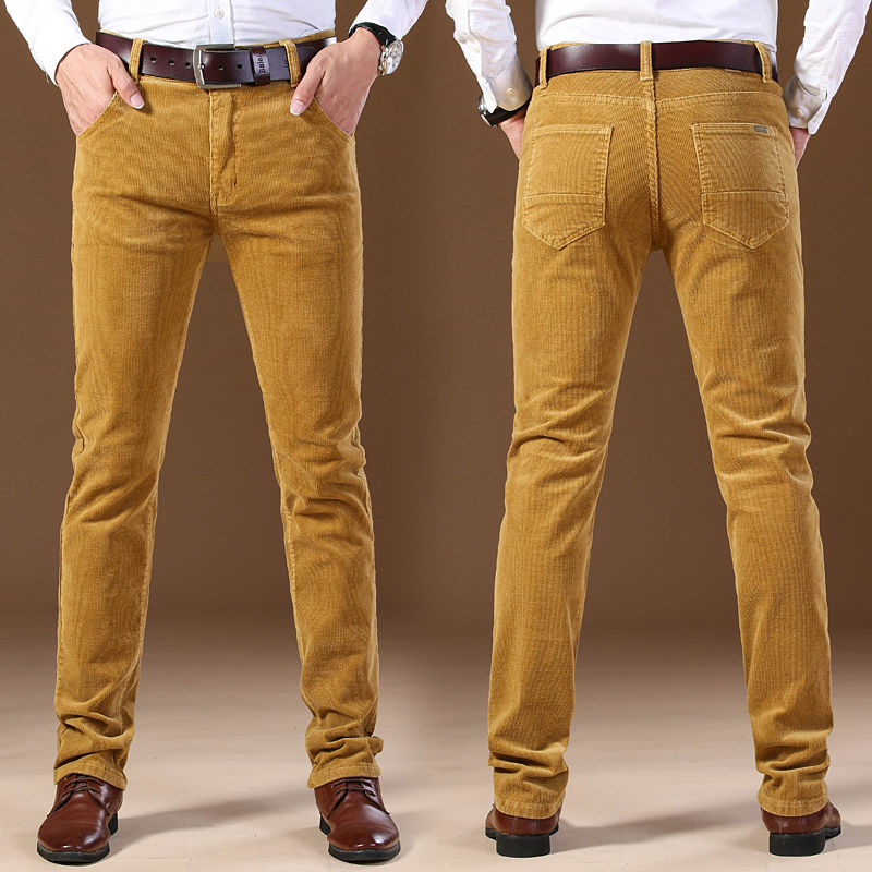 Idopy Autumn Winter Men`s Thick Warm Corduroy Pants Fleece Trousers Male Casual Business Style Long Jeans Men