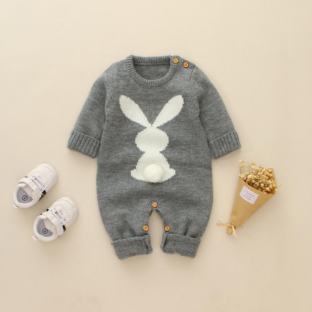 Newborn Boys   Rompers   Cute Animal Rabbit Knit Baby Girls Jumpsuits Spring Fall Infant Kids Overalls Autumn Toddler Bunny Clothing