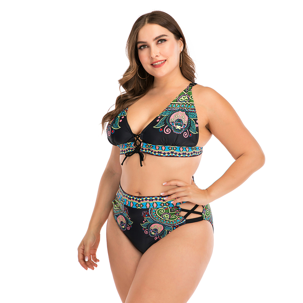 2020 Print Plus Size Bikini Set Women High Waist Swimsuit 4XL Fat Feminine Big Bra Two Piece Bikini Push Up Beach wear For 100kg 2