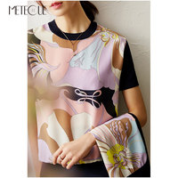 Silk Knitted Patched Women Tops 2020 Spring Summer Fashion Printed Short Sleeve Women Shirt and Blouses