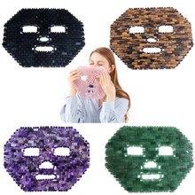 Pembe kristal göz maskesi el yapımı göz perde kristal uyku maskesi gül kuvars soğuk terapi yüz masajı doğal yeşim maskesi