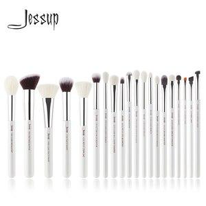 Image 1 - Jessup Juego de pinceles de maquillaje profesionales, color blanco perla/plata, herramientas de belleza, brocha de maquillaje, kit de cosméticos, base en polvo, pintura de lápiz