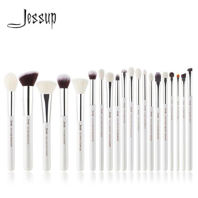 Jessup Juego de pinceles de maquillaje profesionales, color blanco perla/plata, herramientas de belleza, brocha de maquillaje, kit de cosméticos, base en polvo, pintura de lápiz