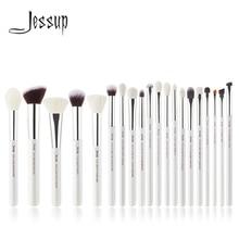 Jessup Parel Wit/Zilver Professionele Make Up Kwasten Set Beauty Tools Make Up Kwast Cosmetische Kit Foundation Poeder Potlood Verf