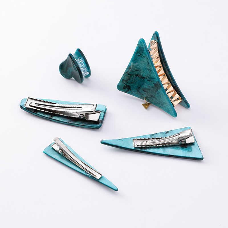 Groene Sterrenhemel Haar Klauwen Vintage Emerald Haar Clips Geometrische Driehoek Haarspelden Creatieve Hoofddeksels Haar Accessoires Voor Vrouwen