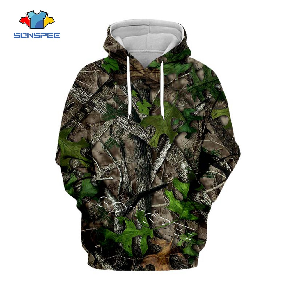 SONSPEE 3D Printed Maple Leaves Camouflage Hoodies Men Women Outdoor Fishing Camping Hunting Clothing Unisex Pullover Hooded Top