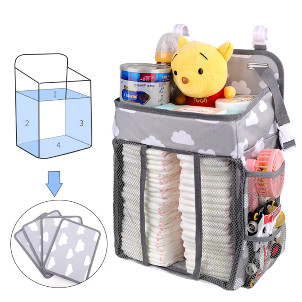 Baby Crib Hanging Storage Bag Diaper Nappy Organizer Cot Bed Organizer Bag Infant Essentials Diaper Baby Kids Crib Bedding