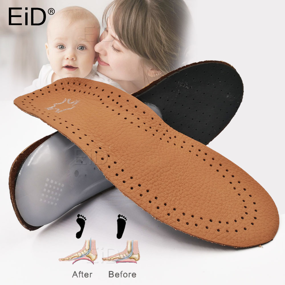 EiD Leather Kids Orthopedic Insoles For Children Shoes Flat Foot Arch Support Orthotic Pads Correction Health Feet Care Insole