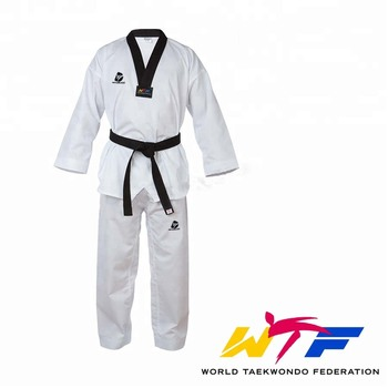 Traditional White WTF Taekwondo Basic Uniform Kids Adult Taekwondo Suit Gi Dobok WTF Uniform Training Clothes V-Neck Uniforms taishan wtf poomsae dan dobok male female taekwondo suits authentic designated taishan tkd poomsae fabrics uniforms have dan