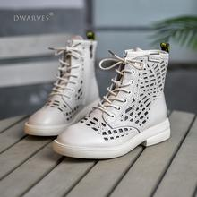 Summer Shoes Ankle-Boots Off-White Women Genuine-Leather Side-Zipper Handmade Breathable