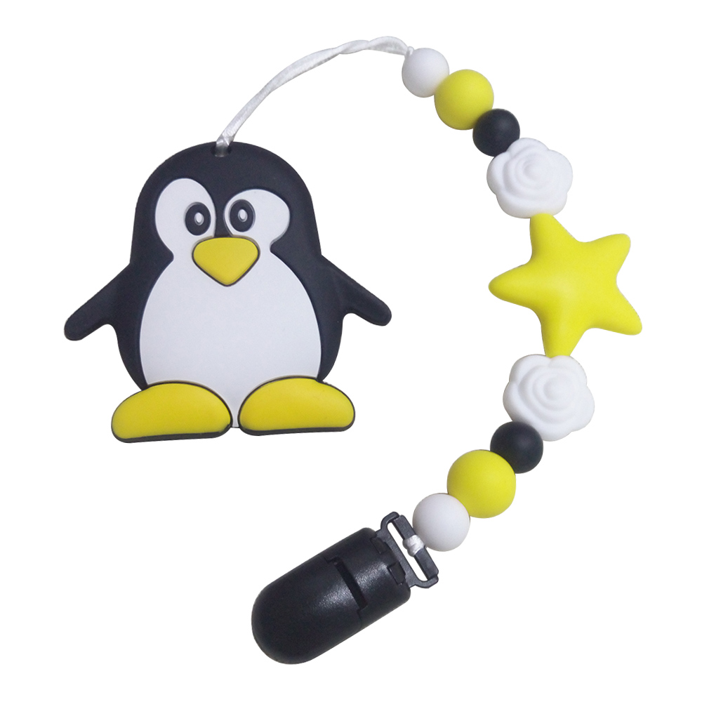 BOBO.BOX Baby Teethers Animal Pacifier Clips Chain For Baby Penguin Pendant Nipple Holder Baby Teething Toys BPA Free Chew Beads