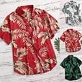Размера плюс мужские Гавайские рубашки модная, повседневная, на кнопках на Гавайи печать пляжное с коротким рукавом Quick Dry Top Блузка S-5XL рубаш...