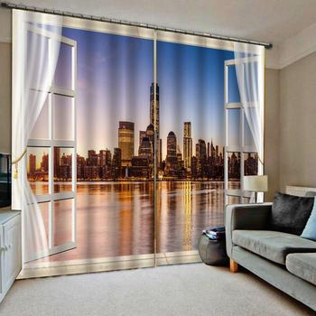 blue night city curtains Customized size Luxury Blackout 3D Window Curtains For Living Room 3d curtain
