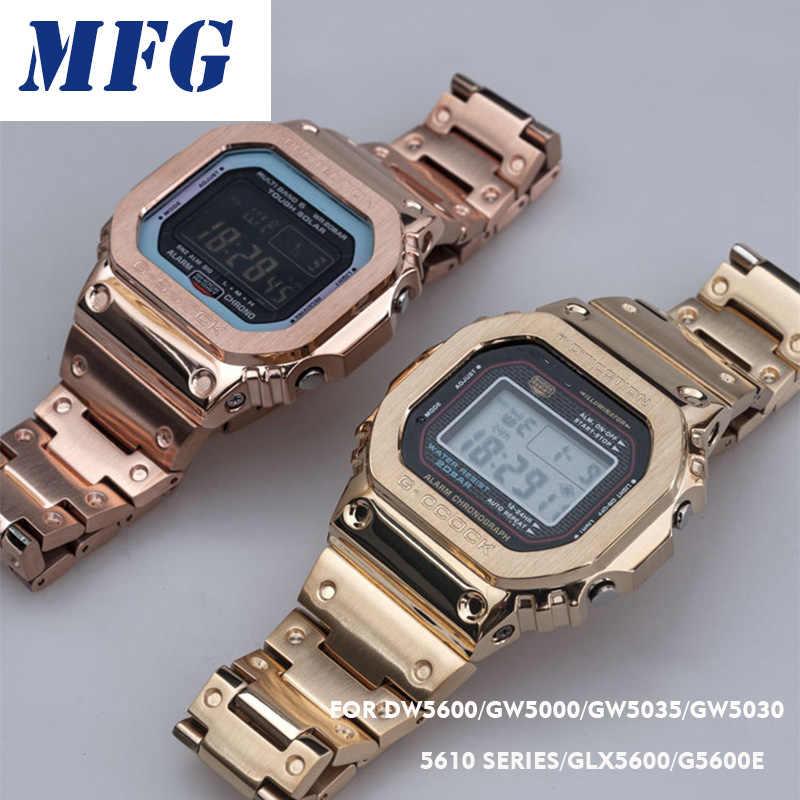 מתכת להקת שעון לוח רצועת DW5600 GWM5610 GW5000 הסוואה נירוסטה רצועת השעון מסגרת צמיד אבזר עם RepairTool