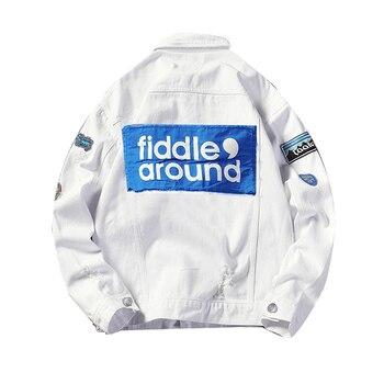 ABOORUN Men's White Ripped Denim Jacket Patchwork Hip Hop Streetwear Oversized Harajuku Fashion Jeans Jacket for Male R3215