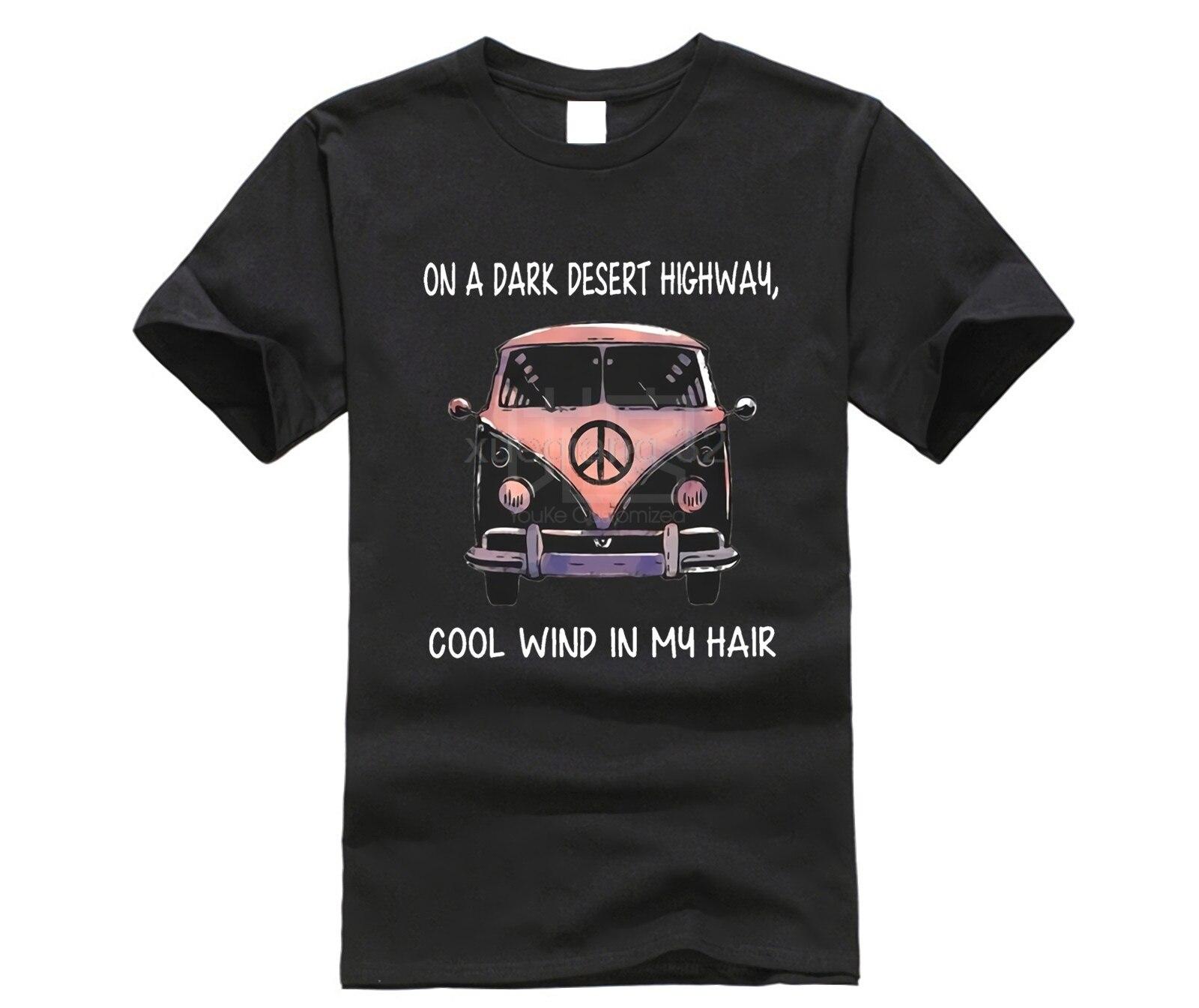 Volkswagen hippie car on the dark desert highway cool wind in my hair T shirt