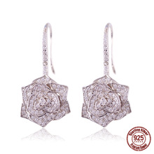 fashion cubic zirconia flower 925 Sterling silver earrings  earring with fish hook