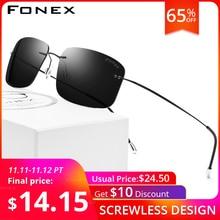 Fonex liga de titânio sem aro polarizado óculos de sol dos homens ultralight screwless frameless quadrado para mulher 20007