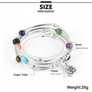 Image 5 - Women Men 8mm Natural Stone 7 Chakras Healing Bracelet Copper Tube Beads Yoga Reiki Bangle Prayer Wrist Chain Bohemian Jewelry