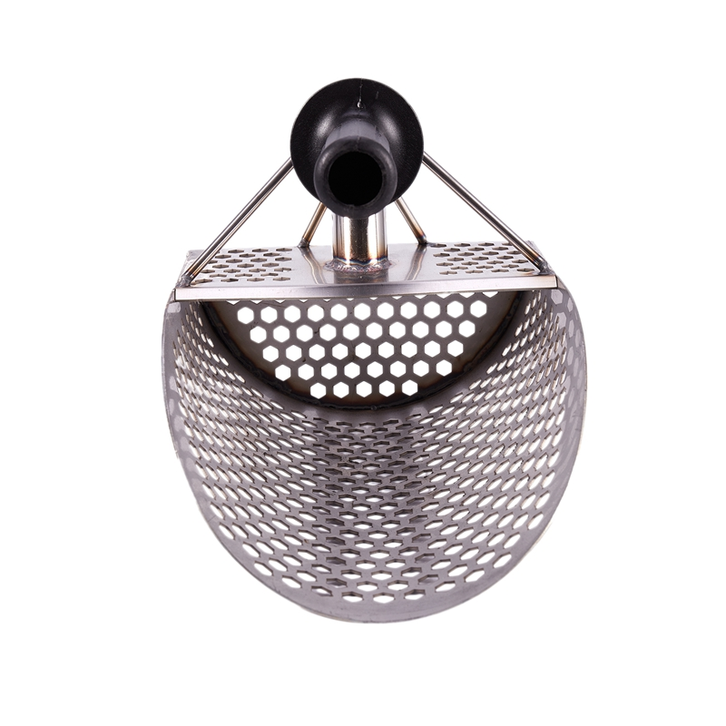 Sand Scoop for Metal Detecting, Stainless Steel with Hexahedron 7Mm Holes for Beach Treasure Hunting Plastic Handle