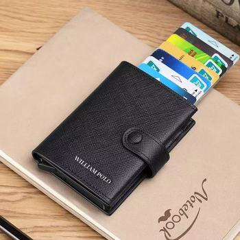 WILLIAMPOLO Rfid Wallet Card wallet Men 100% Genuine Leather Small Button Pocket Male Short Purse Case Thin 2019 fashion