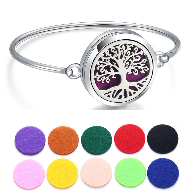 Perfume Essential Oil Diffuser Locket Bracelet 316L Stainless Steel Bangle Magnetic Randomly Send 1pcs Oil Pads As Gift 010305