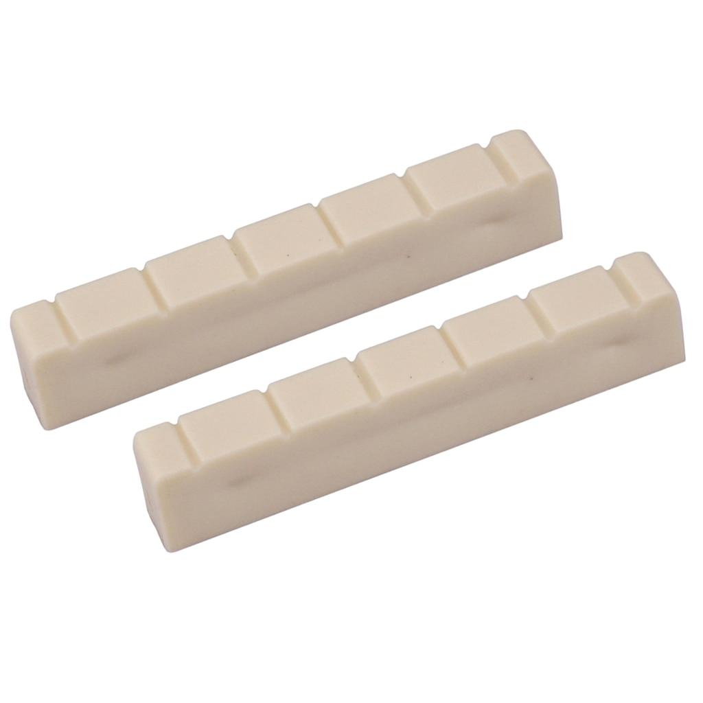 2Pcs Classical Guitar Bone Nuts 48mm 6 String Slotted For Classical Guitar White Guitar Parts Accessories