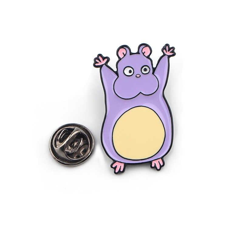K368 Lucu Ungu Mouse Logam Enamel dan Bros Fashion Kerah Pin Tas Ransel Lencana Koleksi Hadiah