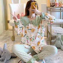 Pregnant Women Breastfeeding Clothing Set Cotton Sleep Nursing Pajamas Suits Female Postpartum Lactation Blouses+Stripe Trousers(China)
