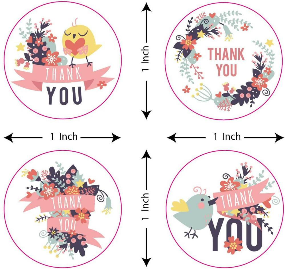 1inch Round Floral Design Thank You Stickers Seal Label Bouquet Baking Packaging Scrapbook Decoration Stationery Stickers