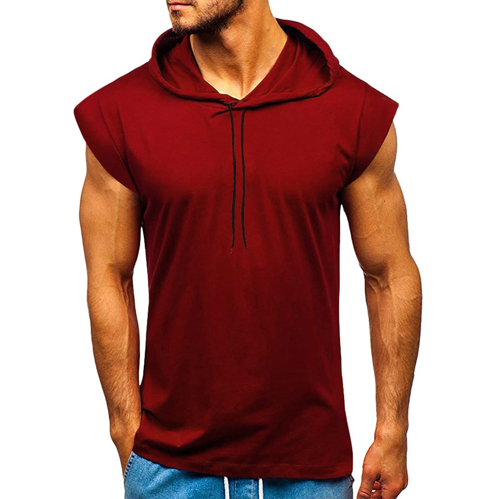 Men's Fashion Hooded Tank Tops Hoodie Sleeveless Tops Male Bodybuilding Workout Tank Top Muscle Fitness Gym Clothing Summer