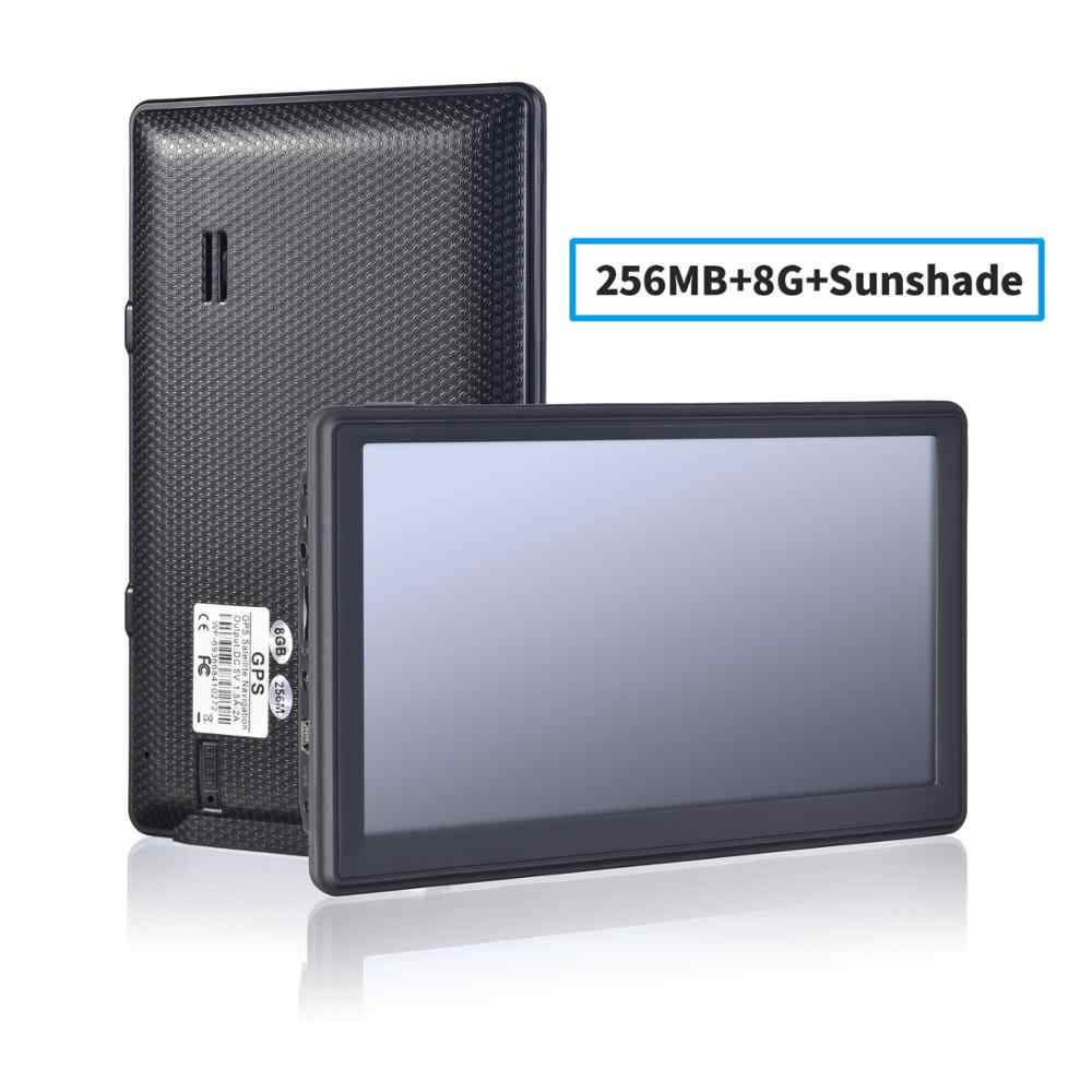 Touchscreen da 7 pollici Mappe di navigazione GPS Dispositivo Sistema internazionale Navigatore GPS 128M 8GB FM con aggiornamento della mappa a vita Bluetooth Europe