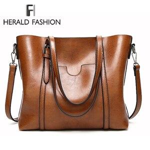 Image 1 - Herald Fashion Women Leather Handbags Ladies Large Casual Tote Bag Quality Female Shoulder Bags Bolsas Femininas Sac A Main