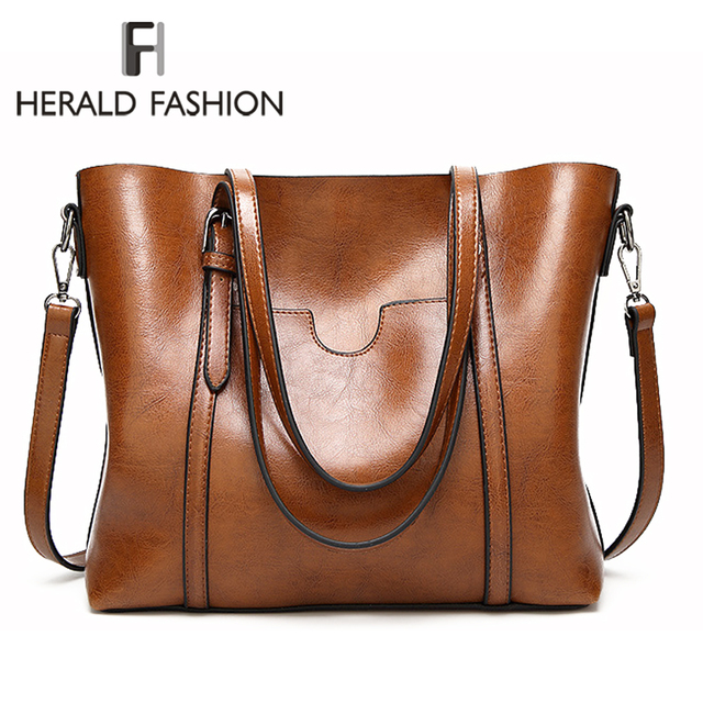 Herald Fashion Women Leather Handbags Ladies Large Casual Tote Bag Quality Female Shoulder Bags Bolsas Femininas Sac A Main