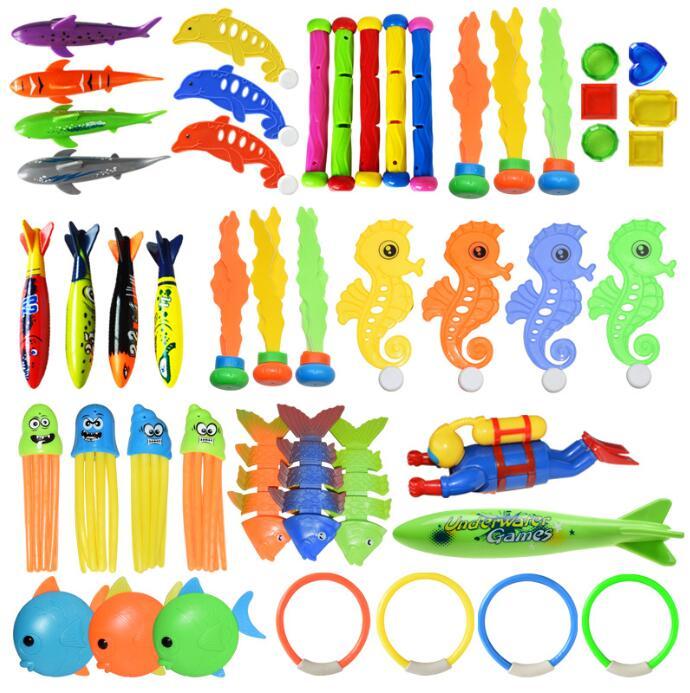 Underwater Swim Pool Diving Toys Summer Swimming Dive Toy Sets Water Rings Sticks Octopus Torpedo Bandits Fish   Balls