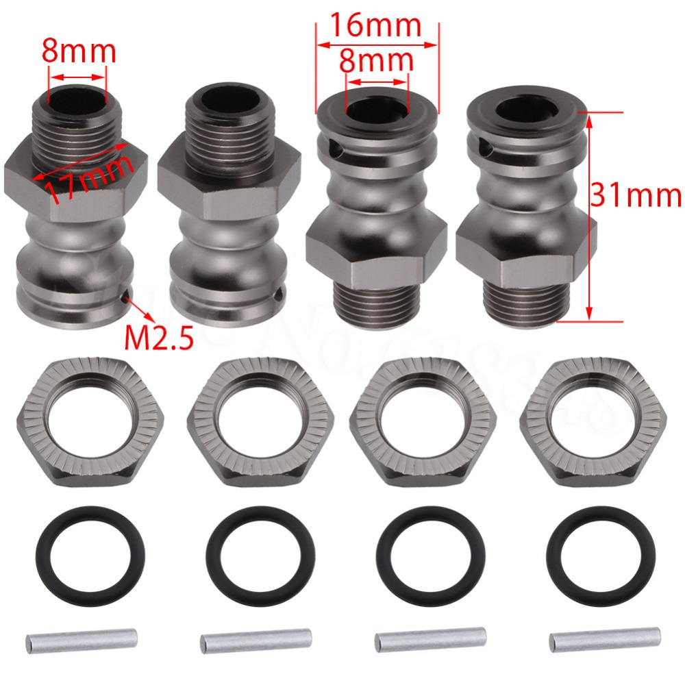 4pcs/Lot Aluminum <font><b>17mm</b></font> Hex 23mm <font><b>Wheel</b></font> Extension Adapter Drive Hub For <font><b>1/8</b></font> Scale <font><b>RC</b></font> Car Parts image